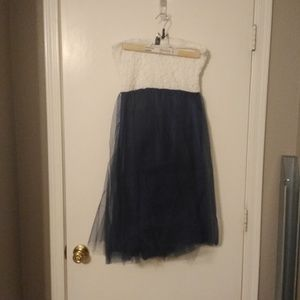 Strapless Navy and Ivory Dress